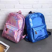 Детский лаковый голограммный рюкзак, блестящий отражающий рюкзачок для девочек розовый серебристый синий