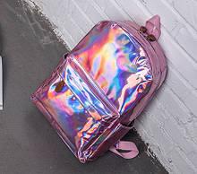Детский лаковый голограммный рюкзак, блестящий отражающий рюкзачок для девочек розовый серебристый синий Розовый