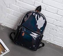 Детский лаковый голограммный рюкзак, блестящий отражающий рюкзачок для девочек розовый серебристый синий Черный