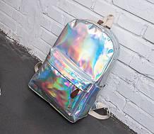 Детский лаковый голограммный рюкзак, блестящий отражающий рюкзачок для девочек розовый серебристый синий Серебристый