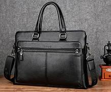 Классический мужской деловой портфель для документов формат А4, мужская сумка офисная для работы эко кожа
