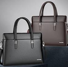 Якісний чоловічий діловий портфель для документів чорний коричневий, чоловіча сумка А4 еко шкіра