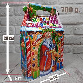 """Новогодняя коробка для конфет 700 грамм """"З Новим роком!"""" уп/25 штук"""