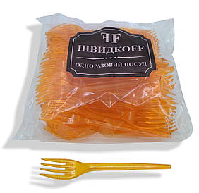 Вилки пластиковые плотные 100 шт Оранжевые Юнита