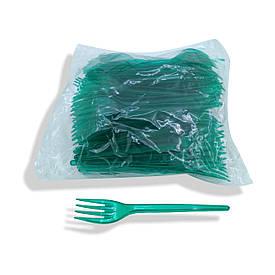Вилки пластиковые плотные 100 шт Зеленые Юнита