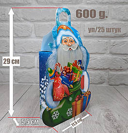 """Новогодняя коробка для конфет 600 грамм """"Дед Мороз Большой"""" уп/25 штук"""