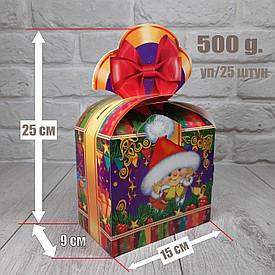 """Новогодняя коробка для конфет 500 грамм """"Бант Гномик"""" уп/25 штук"""