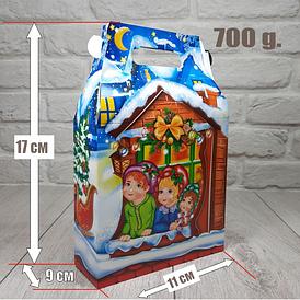 Новогодняя коробка для конфет 700 грамм Санта и Эльф уп/25 штук