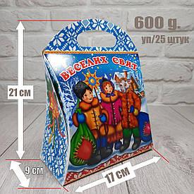 """Новогодняя коробка для конфет 600 грамм """"Веселых праздников"""" уп/25 штук"""
