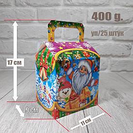 """Новогодняя коробка для конфет 400 грамм """"Санта и снегири"""" уп/25 штук"""