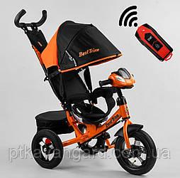 Велосипед трехколесный с родительской ручкой Оранжевый Best Trike 3390 надувные колеса, фара с USB, пульт