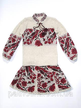 Вязаный костюм на девочку Птичка красная | В'язаний костюм на дівчинку Пташка червона, фото 2