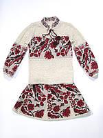 Вязаный костюм на девочку Птичка красная | В'язаний костюм на дівчинку Пташка червона