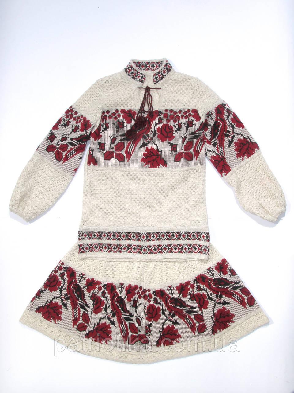 Вязаный костюм на девочку Птичка красная 2   В'язаний костюм на дівчинку Пташка червона 2