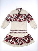 Вязаный костюм на девочку Птичка красная 2 | В'язаний костюм на дівчинку Пташка червона 2