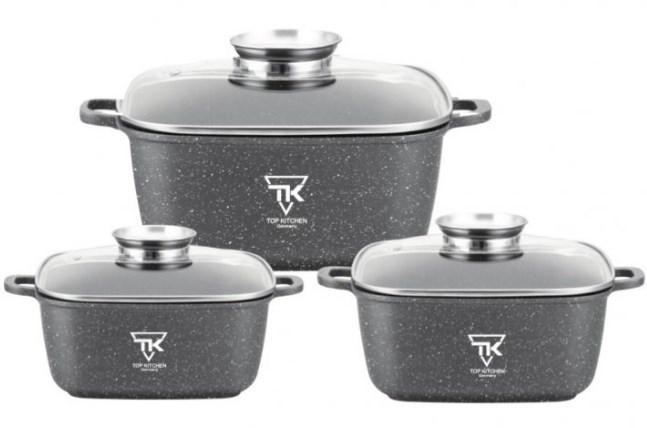 Набор кастрюль с гранитным мраморным покрытием 6 предметов Top Kitchen TK00025