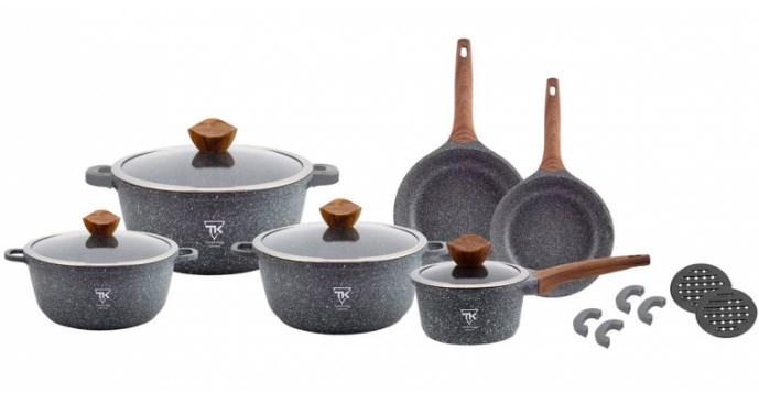 Набір каструль з гранітним мармуровим покриттям 18 предметів Top Kitchen Deluxe TK00022