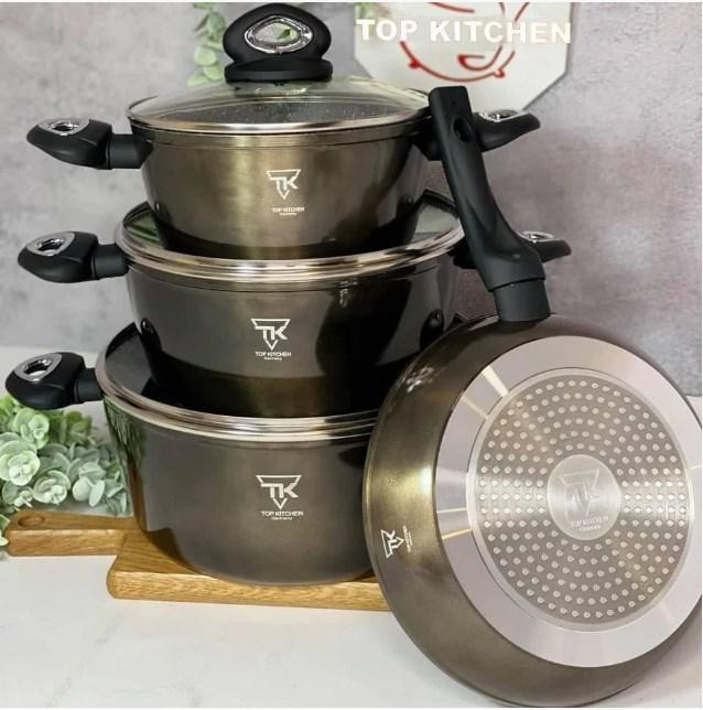 Набор кастрюль с гранитным мраморным покрытием 7 предметов Top Kitchen Deluxe TK00081