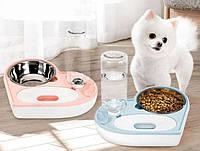 Автоматическая кормушка мыска ASENVER 2в1 Диспенсер для кормления кошек и собак, фото 1