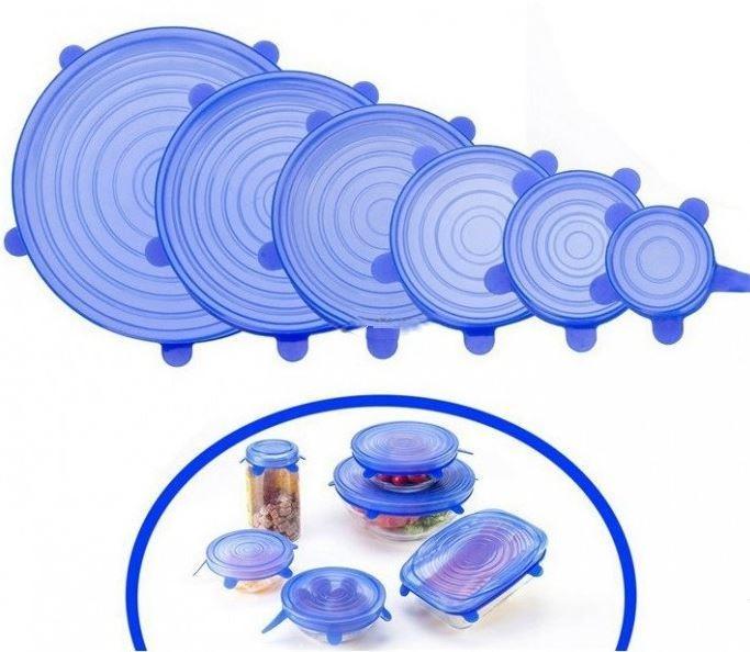 Набор из 6 штук силиконовых крышек для хранения продуктов
