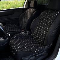Накидки чехлы на сидения автомобиля из Алькантары Эко-замша универсальные защитные авточехлы Черный белый 2 шт