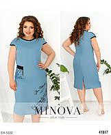 Женское льняное летнее красивое однотонное платье в расцветках батал большие размеры 50-52 54-56, 58-60, 62-64