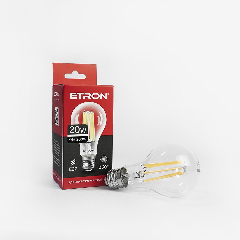 Лампа світлодіодна ETRON филаментная A65 20W 4200K E27 прозора 1-EFP-102