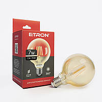 Лампа світлодіодна ETRON куля G95 филаментная 7W 2700K E27 золото 1-EFP-161