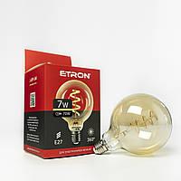 Лампа світлодіодна ETRON филаментная G125 Vintage E27 7W 2700K золото 1-EFP-166