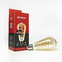 Лампа светодиодная ETRON филаментная ST64 Vintage E27 7W 2700K золотом 1-EFP-167