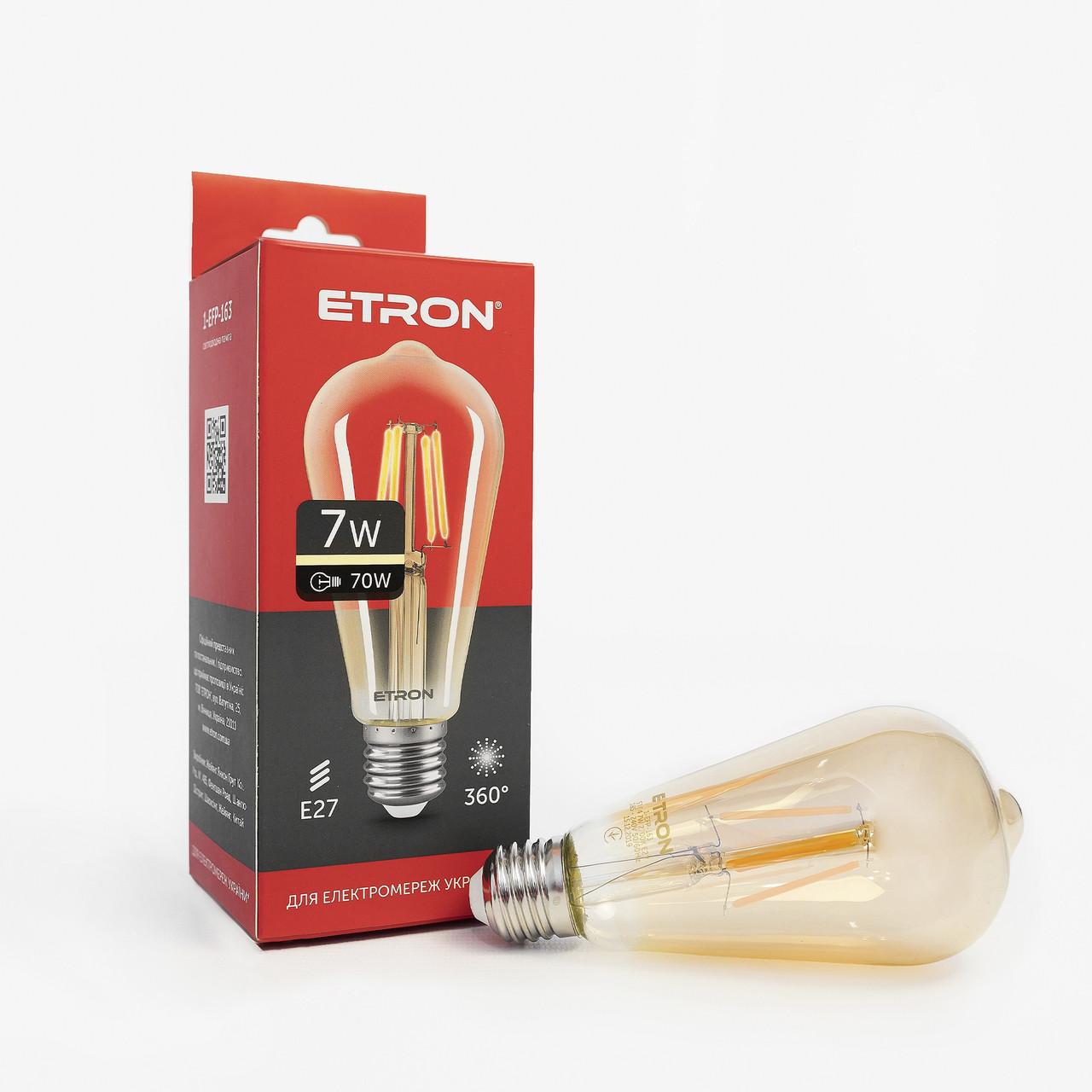 Лампа LED ETRON филаментная ST64 E27 7W золото 1-EFP-163