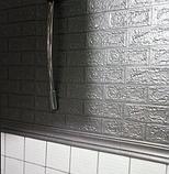 Самоклеючі 3Д панелі, декоративні стінові панелі 5 мм, цегла Срібло, фото 5