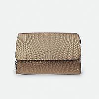 Женская стильная сумка золотистая кожаная средняя J009-1