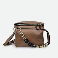 Стильна жіноча сумка бананка шкіряна коричнева 21012