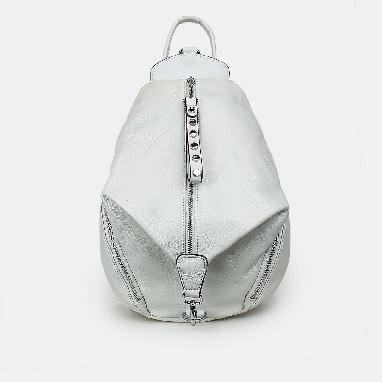 Городской рюкзак  женский кожаный белый большой 28*25*14