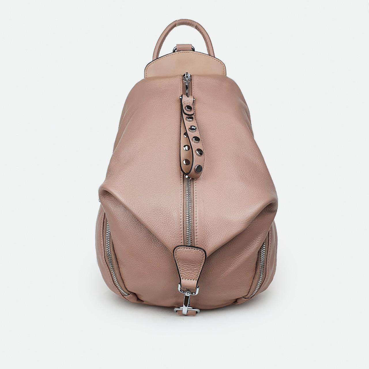 Модный рюкзак женский кожаный розовый 2559 большой