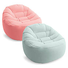 Надувное кресло для отдыха, велюровое, мягкое, Beanless Bag 2 цвета, 112*104*74 см, Intex