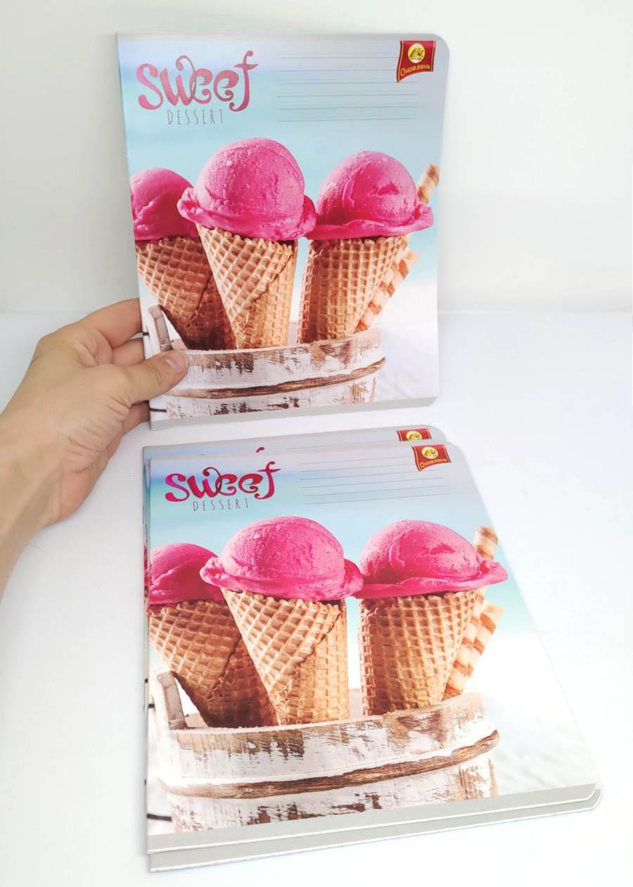Зошит 12арк, клітина морозиво. Зошит мороженко. Зошит рожева.