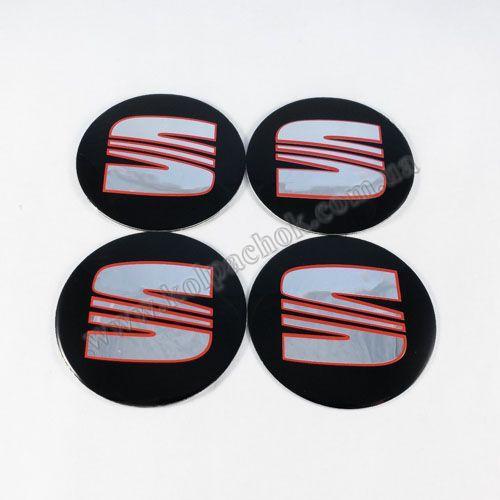 Наклейки на ковпачки Seat чорні / червоний лого 60 мм
