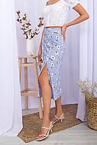 Блакитна спідниця літня штапель з розрізом спереду розмір 42-48, фото 2