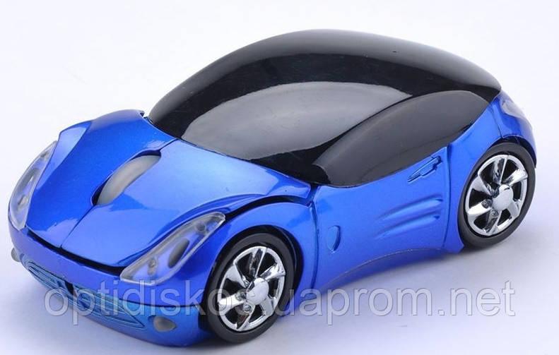Беспроводная мышка Машинка, светящиеся фары Синий