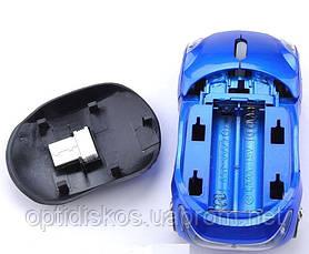 Беспроводная мышка Машинка, светящиеся фары Синий, фото 3