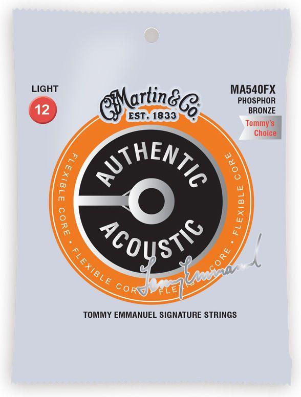 Струны для гитары MARTIN MA540FX Authentic Acoustic Flexible Core 92/8 Phosphor Bronze Light - Tommys Choice