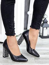 Туфлі на каблуці чорна шкіра блискітки 7441-28, фото 3