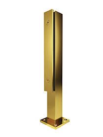 ODF-02-06-10-H400 Стойка для стекла из нержавейки с прижимной пластиной для стеклянных ограждений, цвет золото