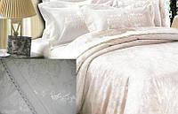Жаккардовое постельное белье 200х230 GoldenTex GV 270-1 молочное