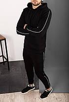 Спортивний костюм чоловічий чорний. Стильний чоловічий спортивний костюм (худі + штани) чорного кольору., фото 3