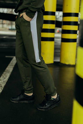 """Чоловічі спортивні штани хакі білий Intruder """"Spirited"""" + Подарунок, фото 2"""