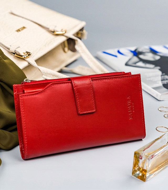 Жіночий шкіряний гаманець Badura з RFID 19 х 10 х 2,5 (PO_D119CR_CE) - червоний