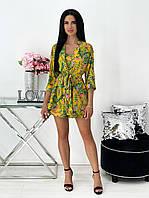 Яркий летний костюм-тройка с шортами, накидкой и топом, фото 1